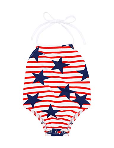 Newborn Baby Girl 4th of July Outfit American Flag Stripe Star Romper Summer Sleeveless Jumpsuit 0-3 Months