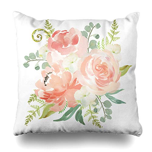 Suesoso Decorative Pillows Case 18 X 18 Inch Peaches Cream Watercolor Floral Throw Pillowcover Cushion Decorative Home Decor Garden Sofa Bed Car