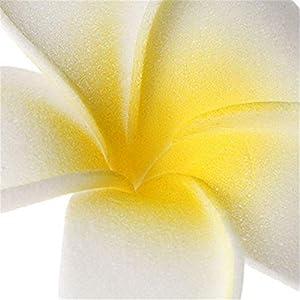 20 Pcs DIY Artificial Plumeria Hawaiian PE Foam Flower for Wedding Party Home Decoration White Yellow (3.5 Inch) 4