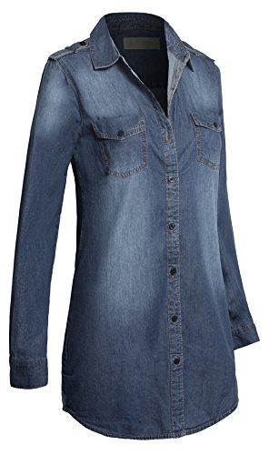 Womens Button Sleeve Cotton Casual