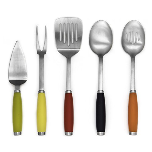 Fiesta 5Piece Stainless Steel Utensil Set with Crock, Multi Fiesta Utensil Crock