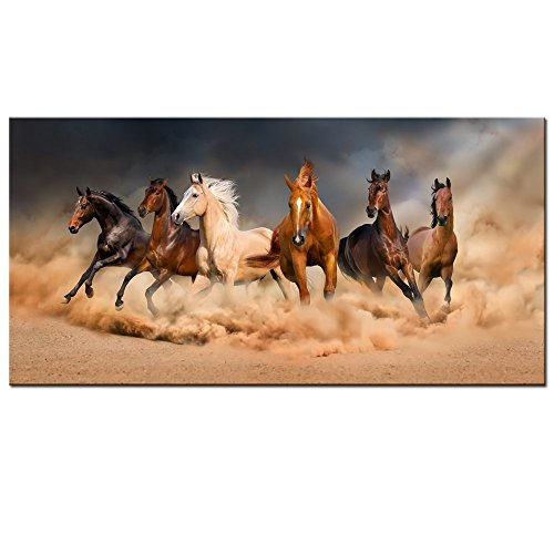 Wild Animals Wall (Live Art Decor - Large Size Running Horse Canvas Wall Art,Wild Animal Picture Print on Canvas,Framed Gallery Wrapped,Modern Home and Office Decoration,-24