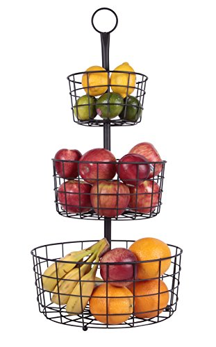 (JMiles UH-FB205 2 or 3 Tier Decorative Heavy Duty Wire Fruit Basket Countertop Stand)
