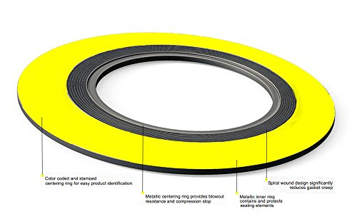 Pack of 6 2 Pipe Size x 1500# Class Flange x 316SS//Flexible Graphite Sterling Seal /& Supply SSS 9000IR2316GR1500X6 Spiral Wound Gasket with 316SS Inner Ring