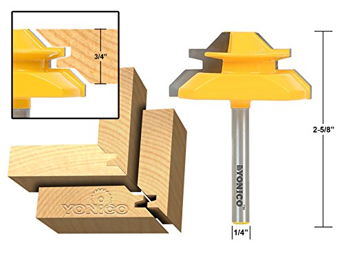 Yonico 15127q Medium Lock 45 Degree Miter Router Bit with 3/4