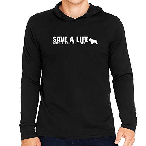 Idakoos Save a Life, Adopt from Rescue English Cocker Spaniel Hooded Long Sleeve T-Shirt L Black