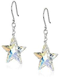 Sterling Silver with Swarovski Elements Crystal Aurora Borealis Star Drop Earrings