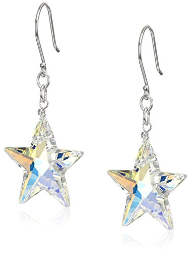 Sterling Silver with Swarovski Elements Crystal Aurora Borealis Star Drop Earrings