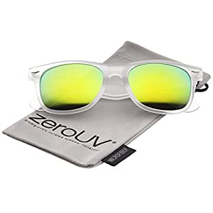 zeroUV - Matte Frosted Frame Reflective Colored Mirror Lens Horn Rimmed Sunglasses 54mm (Frost / Yellow Mirror)