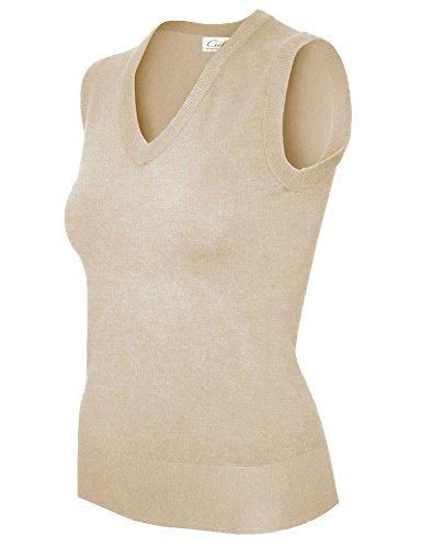 ts V-Neck Soft Durable Sweater Vest (Small, SW665 Khaki) (Juniors Sweater Vest)