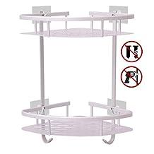 Hawsam No Drilling Bathroom Corner Shelves, Aluminum 2 Tier Adhesive Shelf Basket for Shampoo
