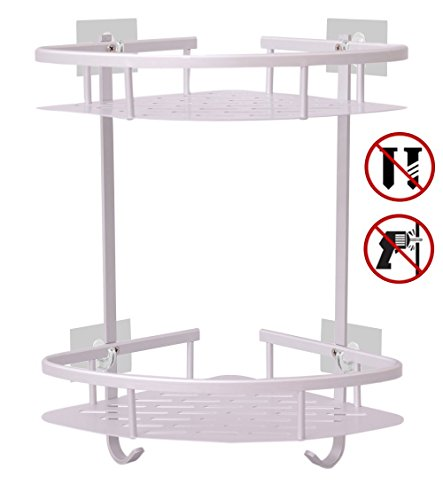 Hawsam No Drilling Bathroom Corner Shelves, Aluminum 2 Tier Shower Shelf Caddy Adhesive Storage Basket for ()