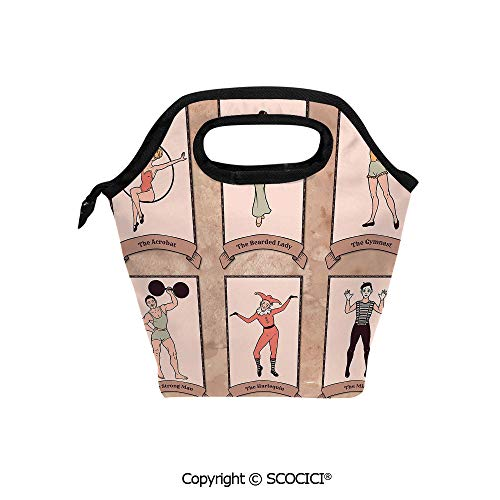 Portable thickening insulation tape Lunch bag Vintage Circus Characters Acrobat Bearded Lady Gymnast Strong Man Harlequin Mime for student cute girls mummy bag.