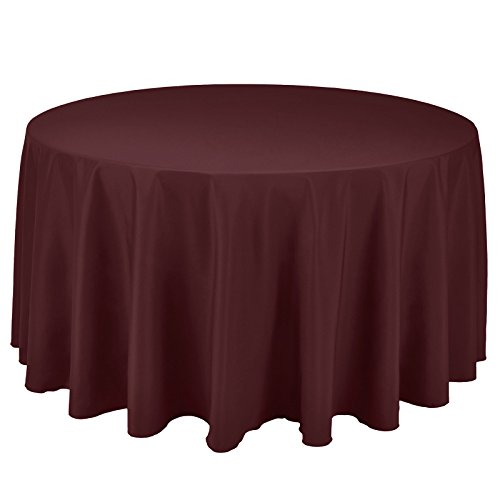 VEEYOO Round Tablecloth 100% Polyester Circular Bridal Shower Table Cloth - Solid Soft Dinner Table Cover for Wedding Party Restaurant (Burgundy, 108 inch)
