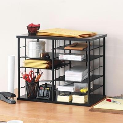 Rubbermaid - 12-Slot Organizer Mdf Desktop Sorter 21 X 11 3/4 X 16 Black ''Product Category: Desk Accessories & Workspace Organizers/Sorters''