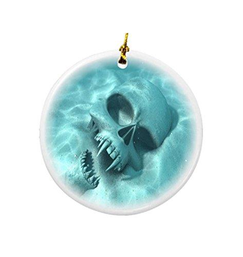 Rikki Knight Halloween Werewolf Sunken Skull Design Round Porcelain Two-Sided Christmas Ornaments (Werewolf Halloween Decorations)