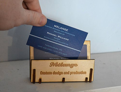 Laser Etched Personalized Business Card Display in wood or acrylic ()
