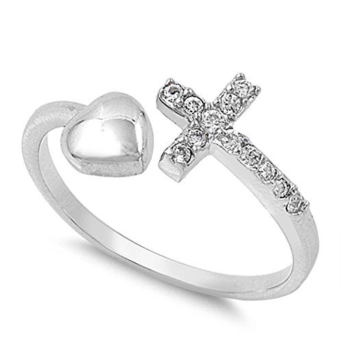 Sterling Silver Women's Flawless Colorless Cubic Zirconia Heart Love Open Sideways Cross Ring (Sizes 4-10) (Ring Size 8)