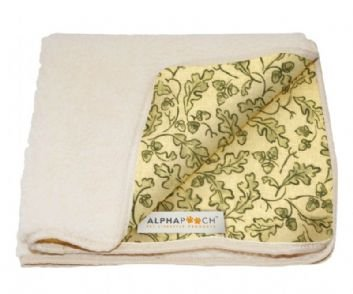 Alpha-Pooch-Sleeper-Pet-Blanket-Green-Leaf-Fabric-with-Natural-Synthetic-Lambskin