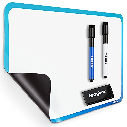 "Dry Erase Magnetic Whiteboard for Fridge by Magbox - 11"" x 17"" Sheet. Magnet Board Daily Planner. Ideal for Reminders, Messages and Kids Drawing. Eraser and Markers Included."