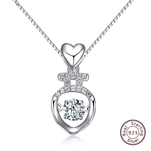 QMM necklace Pendant 925 Sterling Silver Necklace Heart Style Pendants Insert Movable Charm Cz Zircon Jewelry