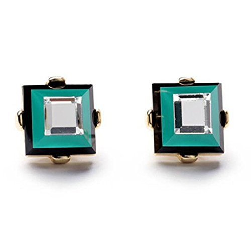 - Chic Green Earrings for Women Curated Collection (Persian Green Square)