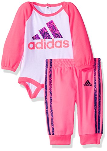 adidas Baby Girls' Spatter Performance Long Sleeve Bodysuit and Pant Set, White, 9 Months (Adidas Baby Girl Infant)