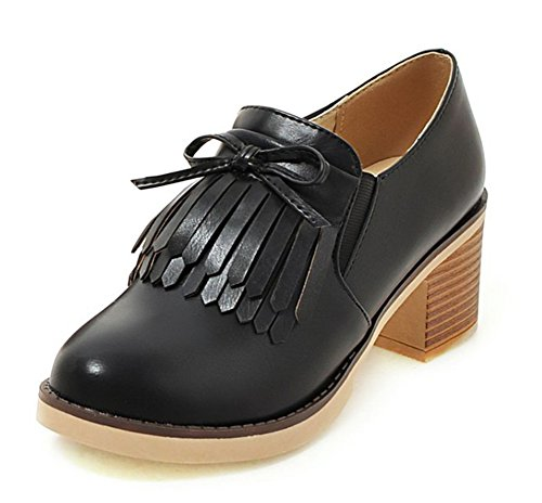 Aisun Women's Unique Fringed Round Toe Dress Stacked Medium Heels Slip On Oxfords Shoes Black 6 B(M) US by Aisun