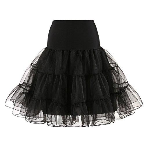 TINTAO Womens Vintage 1950s Underskirt Crinoline Petticoat Tutu Skirt D104 (Black, M)