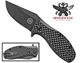 Off-Grid Knives – Badger EDC – D2 Blade Steel, Compact Manual Folding Pocket Knife – FRN Scales, Grid-Lock, Ceramic Ball Bearings, Reversable Tip-Up Deep Pocket Clip