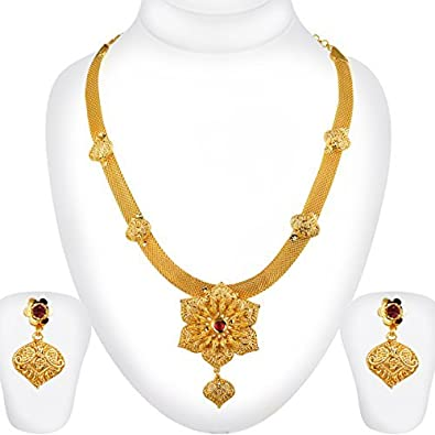 0064cfc3b3f9d Spargz Traditional Gold Plating Bridal Long Haram Necklace For Women AINS  143