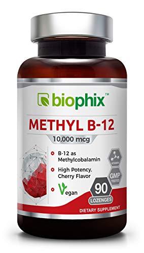 - Biophix Methyl B-12 10000 mcg 90 Vegan Lozenges Cherry Flavor Extra Strength - Supports Nervous System | Immune Health | Blood Flow | Metabolism | Brain Focus | Energy