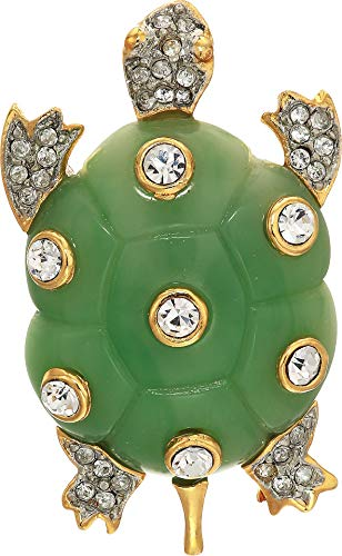 Kenneth Jay Lane Women's Gold Two-Tone Rhinestone Jade Turtle with Crystal Pin Jade One Size