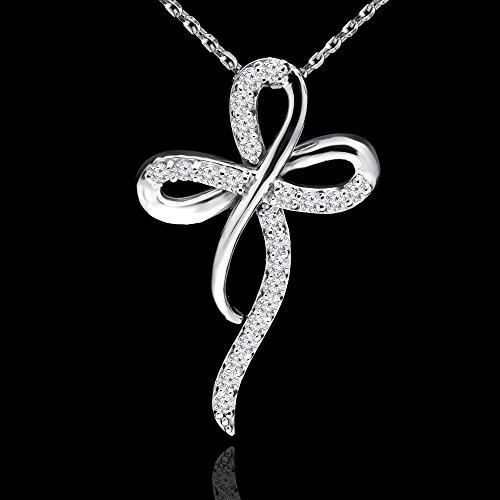1/2Outlet-Diamond-Collier Femme-Pendentif croix en or blanc 14K avec chaîne (md160310)