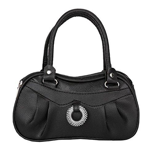 ❤️Clearance! Vintage Lady Ring Solid Color Leather Shoulder Tote Women Fashion Pure color Handbag Shoulder Bag Tote Ladies Purse Duseedik (BLACK) -