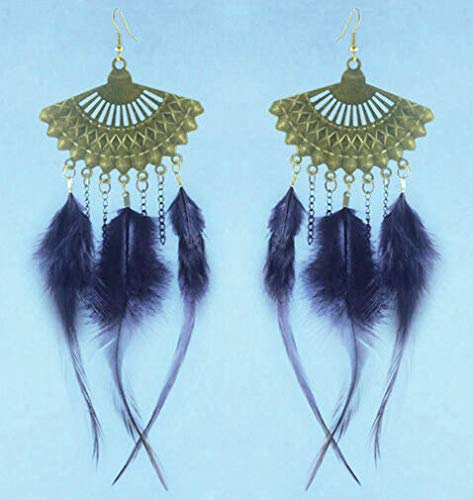 1set vogue Feather charm sector chain dangle chandelier earrings jewelry (Best Solitaire Rings India)