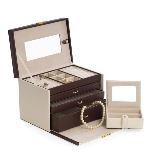 Ivory and Leather Locking Travel Jewelry Box and Travel Case - 2 Pc Set - 10.75W x 7.25H in.