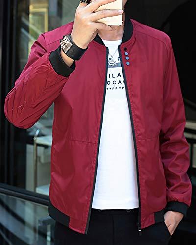 Rosso Cappotto Baseball Uomo Bomber Lunga Jacket Manica Cihui College Giubbotto Giacche xZATzqxv
