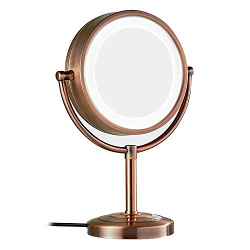Makeup mirror Double-Sided LED 8.5 Inches 5 Times Magnification 360 Degree Rotation -
