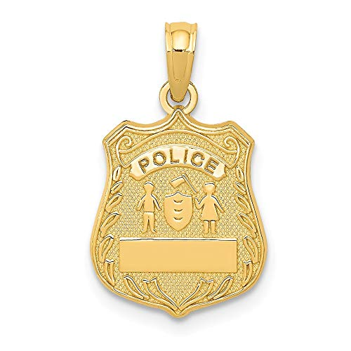 - 14k Yellow Gold Police Badge Pendant Charm Necklace Career Professional Polouse Fine Jewelry Gifts For Women For Her