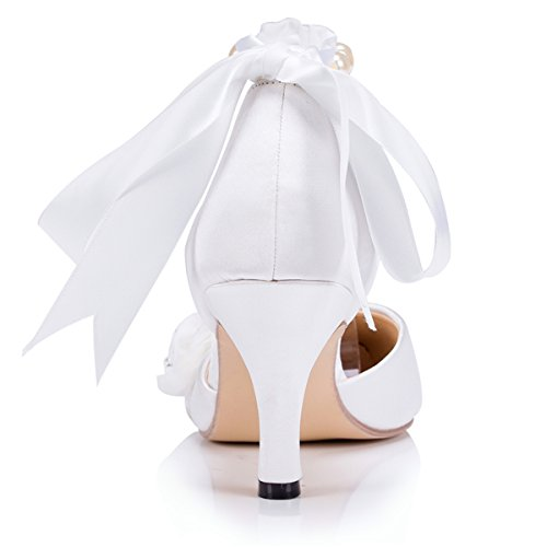 Kevin Fashion ZMS1507 Womens Pointed Toe Satin Bridal Wedding Party Evening Prom Pumps Shoes White y5heIxjp