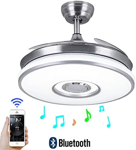 Fine Maker 42 Ceiling Fan with Light and Remote Smart Bluetooth Speaker 3-Lights Color Retractable Blade ABS for Living room Dining room Hall
