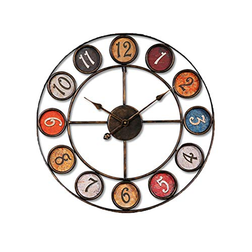 HAOLY Creative Wall Clock,Vintage Creative Wall Clock,Fashion Home Wrought Iron Clock,for Living Room Office-A diameter60cm(24inch) ()