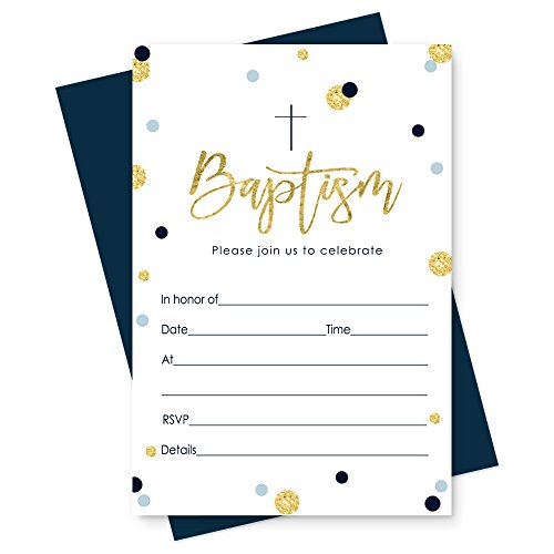 Boys Baptism Invitation Set of 15 Navy and Gold Baptism Invitations