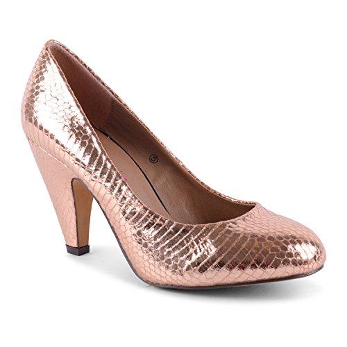 Dolcis - Zapatos de vestir de sintético para mujer dorado - rosa (b)