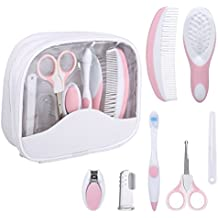 Baby Grooming Kit, 7pcs/Set Safe Hair Comb ToothBrush Nail Clipper Scissors Healthcare Daily Nurse Shower Tool Set with Carry Bag for Unisex Newborn Toddler Infant Girls and Boys Kids (Pink)
