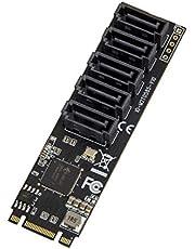 Internal 5 Port Non-Raid Sata III 6GB/S M.2 B+M Key Adapter Card for Desktop PC Support SSD and HDD. Jmb585 Chipset
