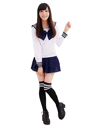 [Aoibox Women's School Uniform Sailor Dress Sailor Suit Cosplay Costume,Dark Blue,S] (Girl Anime Costumes)