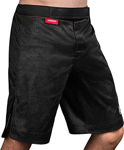 Hayabusa Mens Hexagon Board Style Workout and MMA Training Shorts - Black, Medium