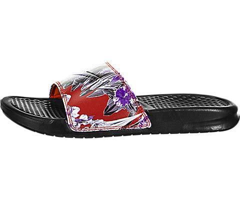 Nike Women's Benassi JDO Print Slide Sandals (8 M US, Black/Team Orange)